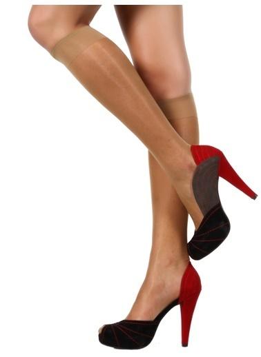 Pierre Cardin 6 Çift Paket Likralı Parlak Dizaltı Çorap Bronz
